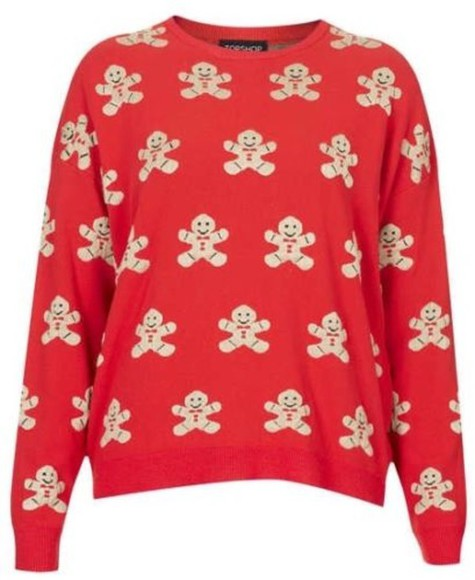 topshop sweater red gingerbread man men christmas warm knit expensive deliver uk united kingdom england america trui gingerbread man jumper christmas sweater