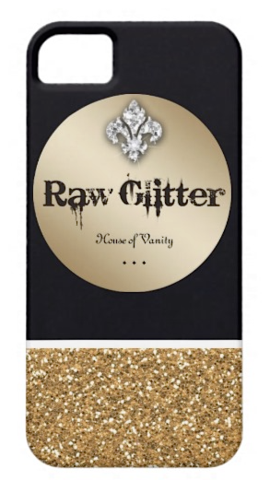 Raw Glitter | Custom RG Golden Glitter Logo iPhone Case - White | RawGlitter.com