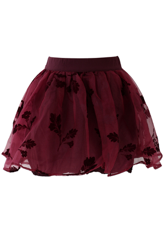 skirt wine red beloved organza crepe skorts