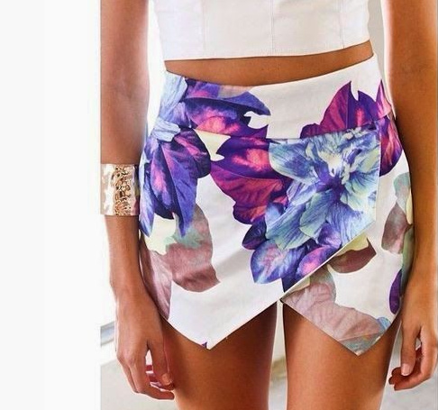 Exotic floral print white skort skirt · fashion struck · online store powered by storenvy
