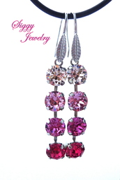 jewels,siggy jewelry,earrings,jewelry,pink,dangle earrings,bling,sparkle,fashion,ombre,cute,trendy,shopping,style,accessories,pink ombre,bridesmaid,wedding,glamour,streetstyle,elegant,etsy,crystal earrings,swarovski