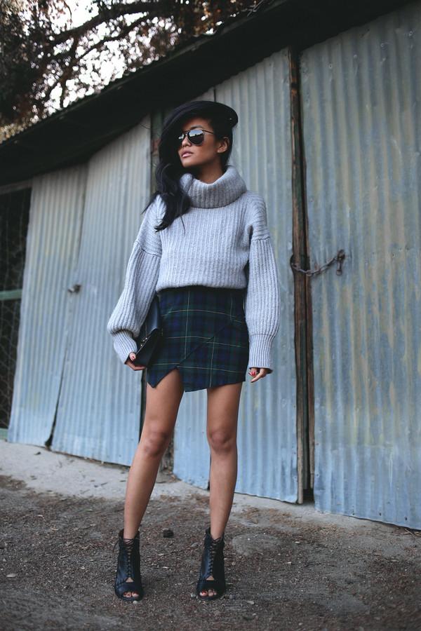 sweater blogger knit grey lustforlife turtleneck knitted sweater skirt oversized turtleneck sweater