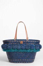 bag,pompom basket bag,basket bag,pompom bag,blue  basket bag,tory burch,beach bag