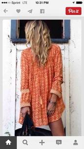 orange,boho dress,dress,orange print boho,clothes,boho