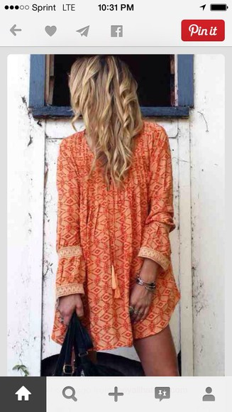 orange boho dresses