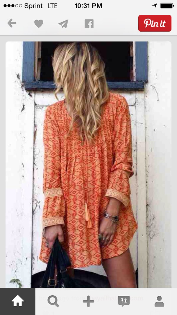 orange boho dress dress orange print boho boho dress clothes boho