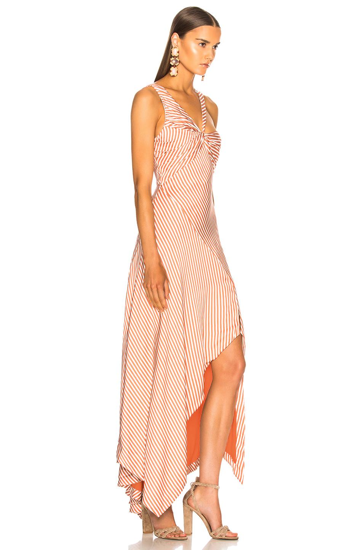 JONATHAN SIMKHAI Stripe Twist Ruffle Dress in Dusk & White   FWRD