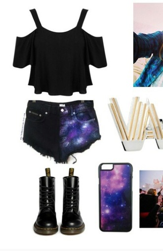 shorts space galaxy top