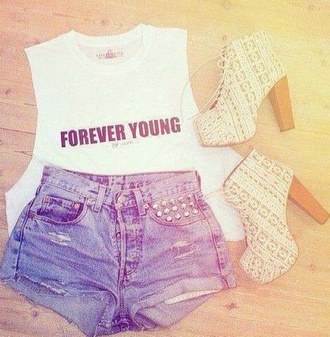 shirt forever young shorts shoes foever young high waist spitze heels heals high heels sparkly fancy
