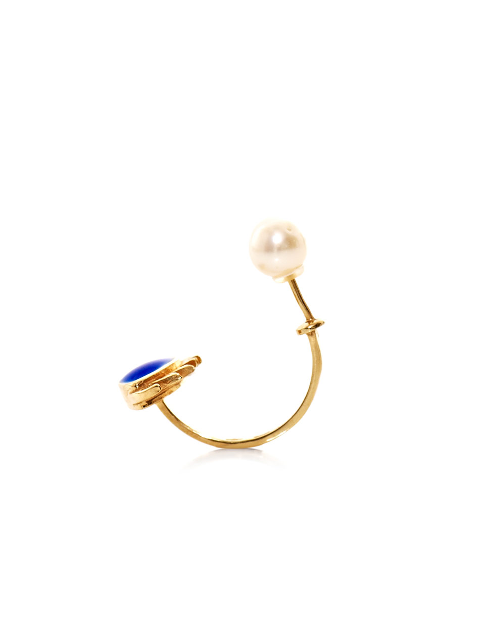 Gold, pearl & enamel eye single earring | Delfina Delettrez | ...