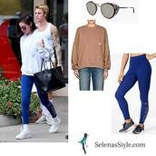 top,visitor on earth,selena gomez,sweatshirt,leggings,sneakers,sunglasses