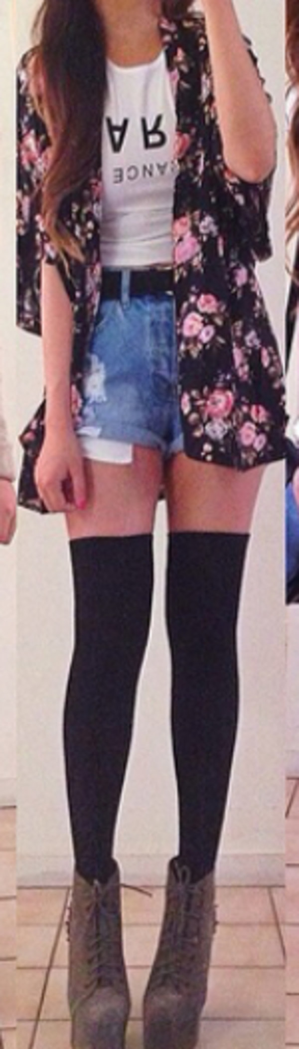 cardigan t-shirt shoes socks tights