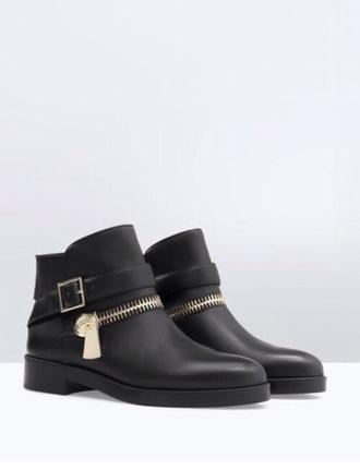 shoes black zipper zipper boots black booties black boots
