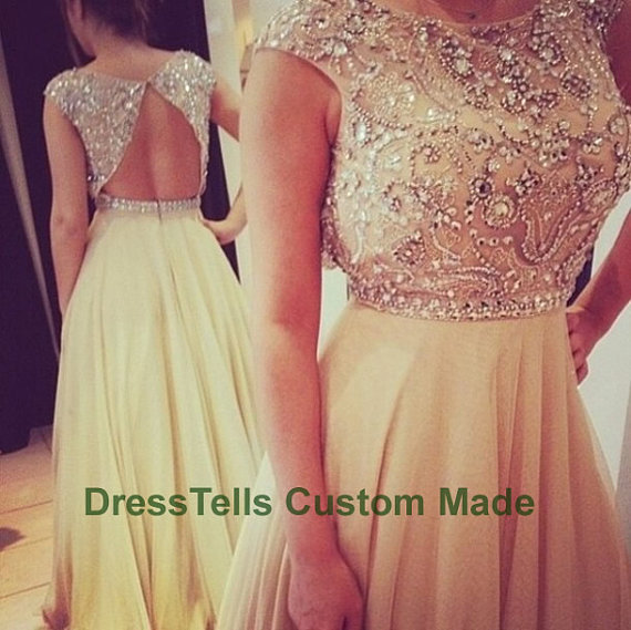Long sweet 16 dress /  prom dress 2014 /  beaded by dresstells