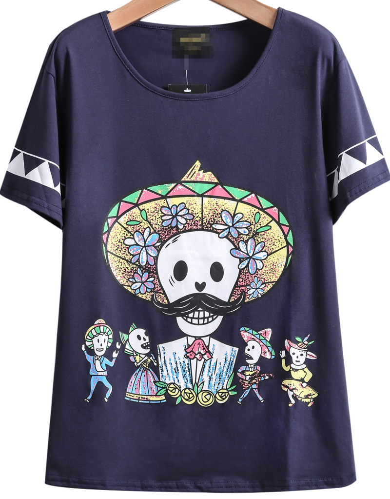 Navy Short Sleeve Zombie Print Loose T-Shirt - Sheinside.com