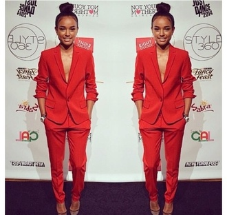 jacket two-piece suits red sexy karrueche classy chic pants