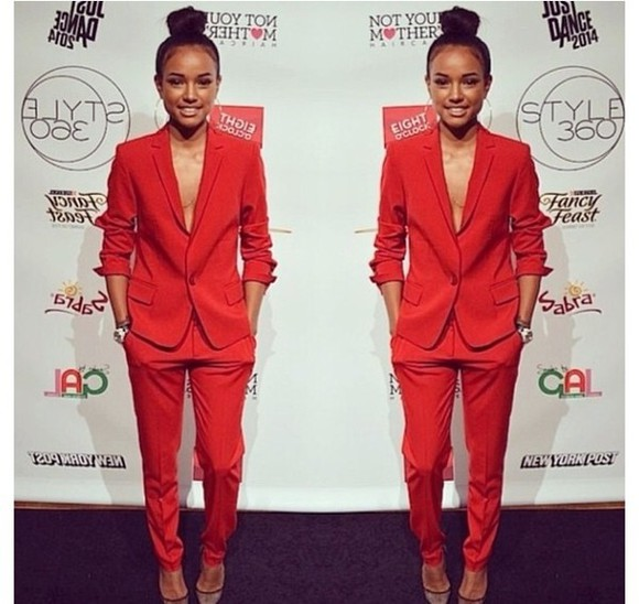 chic jacket pants classy two piece suits red sexy sophisticated karrueche