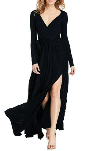 dress v neck dress plunge v neck maxi dress long dress long sleeves long sleeve dress side split fall outfits fall dress all black everything black dress black dark zaful casual casual dress