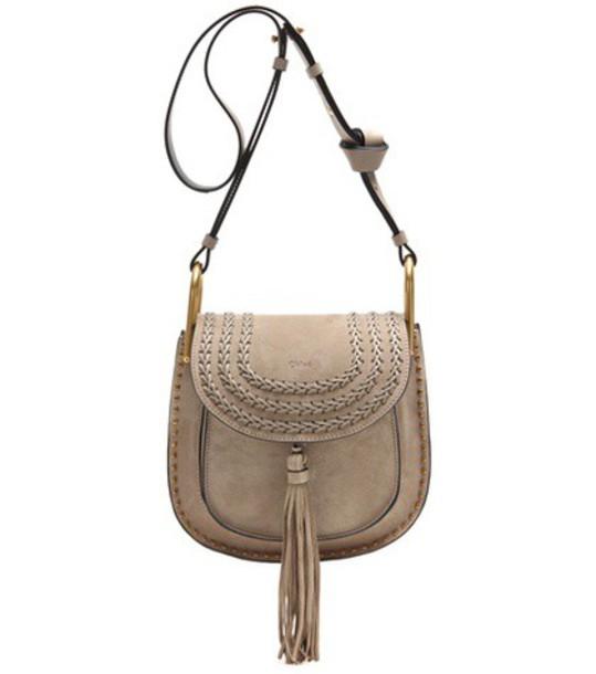 Chloé Hudson Suede Shoulder Bag in grey