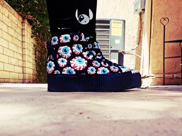 shoes creepers eyes blue red black white eye balls