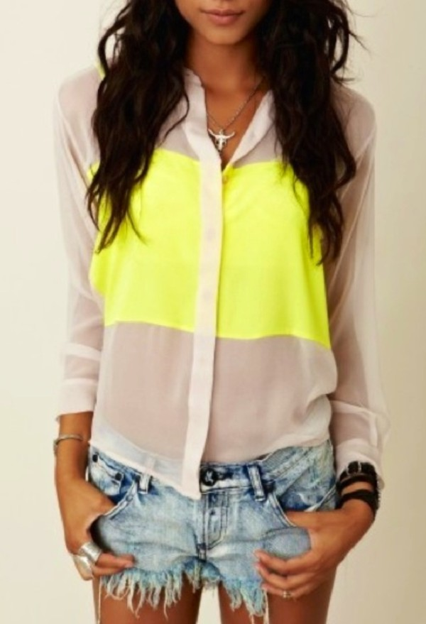 blouse yellow neon bright cute pretty lovely shirt bag necklace jewelry brunette tan summer spring jeans