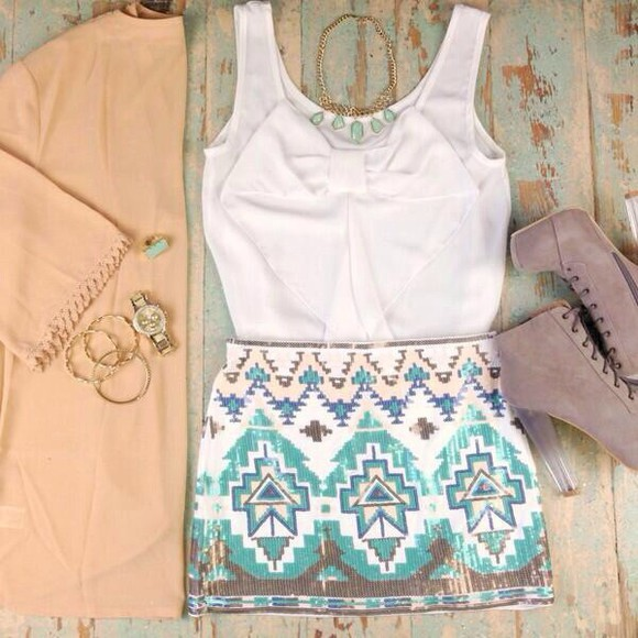 skirt blouse blue skirt white hello fashion bowtie aztec nice