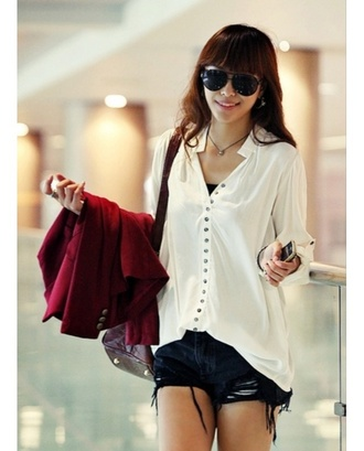 shirt white loose casual floaty comfy button up shirt