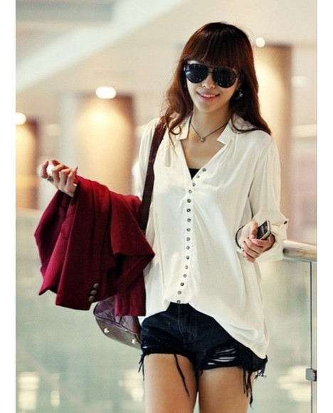 white floaty loose shirt casual comfy button up shirt