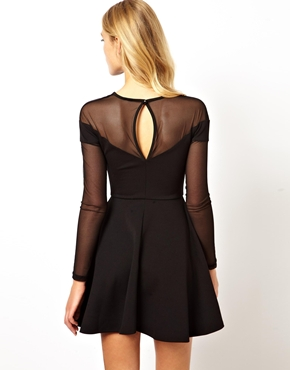 ASOS | ASOS Sweetheart Mesh Insert Skater Dress at ASOS