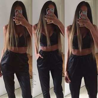 pants black leather crop tops bralette straight hair fashion style shorts shoes heels iphone jewelry
