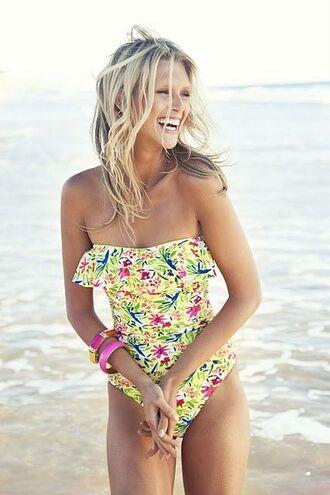 swimwear one piece strapless beach one piece swimsuit floral swimwear yellow swimwear blouse