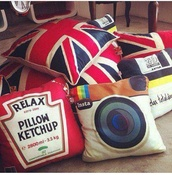 bag,lovely pillows,pillow,instagram,ketchup,red,union jack