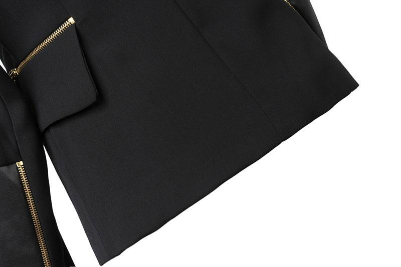 Black Long Sleeve Zipper Pockets Blazer - Sheinside.com