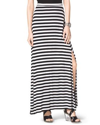 MICHAEL Michael Kors  Striped Slit Maxi Skirt