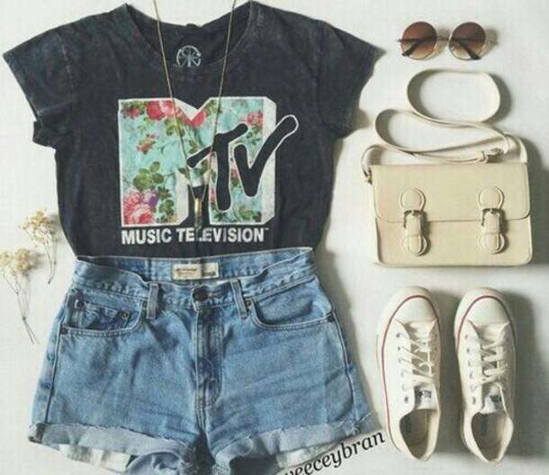 t-shirt mtv shirt bag shoes jewels