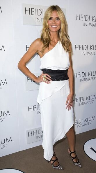 dress one shoulder heidi klum white dress peplum dress waist belt