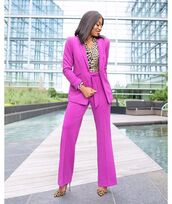 jacket,blazer,pink blazer,wide-leg pants,pants,pumps,high heel pumps,leopard print,shirt