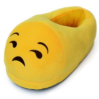 shoes yellow slippers emoji print teenagers funny cool trendy boogzel