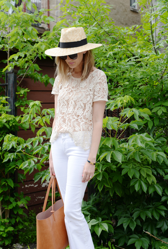 see jane blogger hat white jeans leather bag crochet top