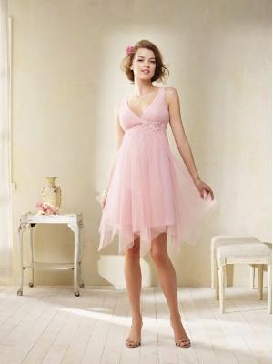 Buy Adorable A-line V-neck Neckline Empire Waist Mini Prom/Bridesmaid Dress  with 100.99-SinoAnt.com