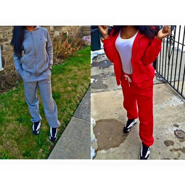 Polo Shirt And Sweatpants Jumpsuit Polo Shirt Red Gray