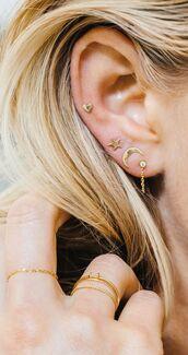 jewels,moon,sun,earrings,ear studs,moon and sun,gold jewelry,stacked jewelry,ear piercings,gold earrings,boho chic