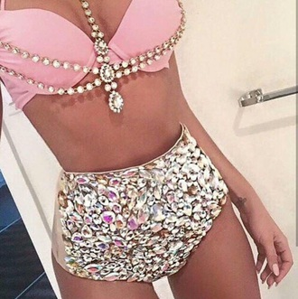 swimwear pink sequins bikini bikini top bikini bottoms jewelry girly pretty bedazzled highwaisted swimsuit