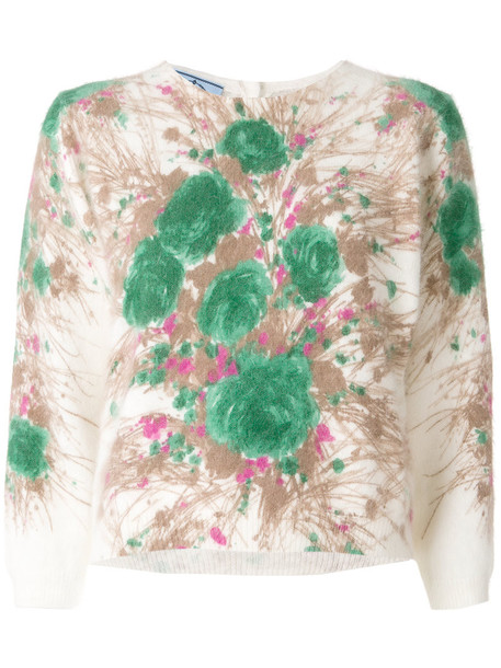 Prada - abstract floral sweater - women - Polyamide/Angora - 40, Nude/Neutrals, Polyamide/Angora
