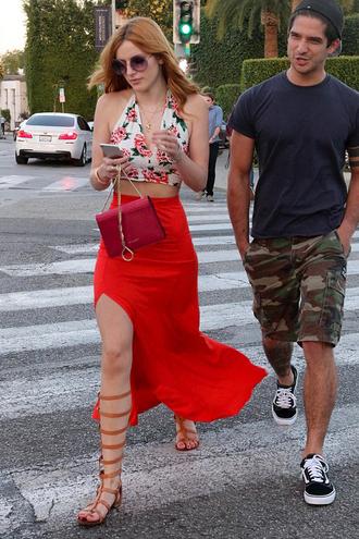 skirt red top maxi skirt slit skirt red skirt bella thorne gladiators crop