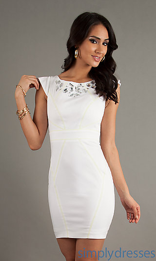 White Open Back Dress, White Party Dresses -- Simply Dresses