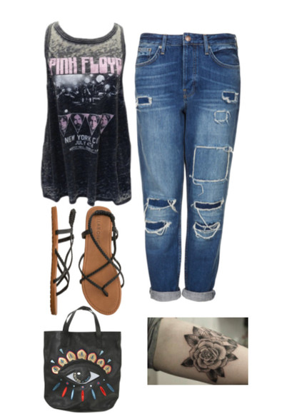 jeans blouse shoes pinkfloyd sandal tattoo flat sandals