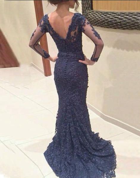 Custom made deep blue lace long prom dresses