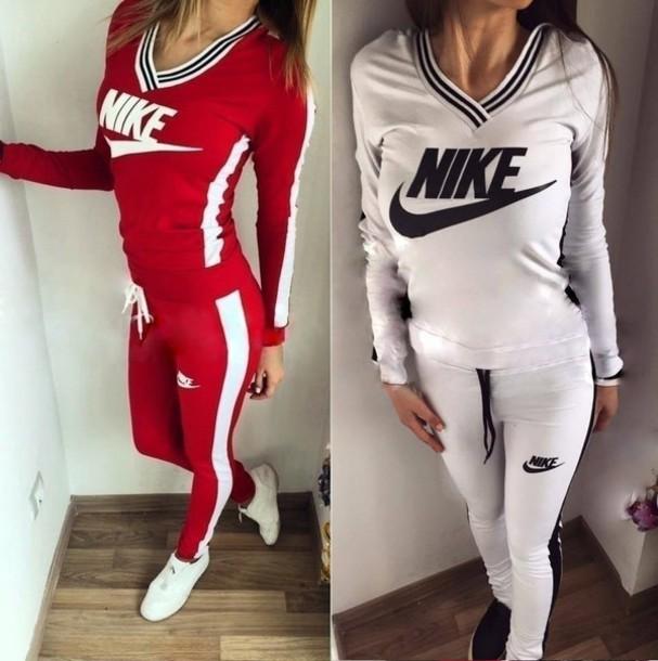 jumpsuit nike red white hoodie pants sportswear nike sportswear tracksuit  joggers a4d705a88