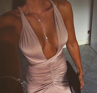 dress satin dress halter dress beige party party dress summer kardashians wrap dress bodycon dress tan necklace bracelets silk maxi dress